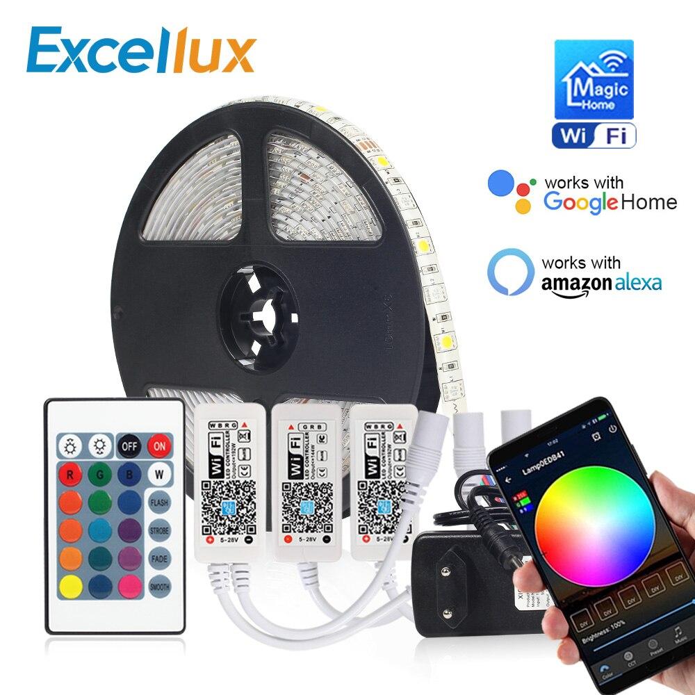 Dc 12 v led tira rgb/rgbw/rgbww mini wifi led rgb rgbw controlador casa mágica 5050 rgb fita flexível app inteligente sem fio