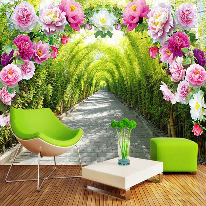 Custom 3D Mural Wallpaper Livingroom Bedroom Sofa Background Wallpaper Garden Flowers Flower Door Gallery Extend Space Wallpaper