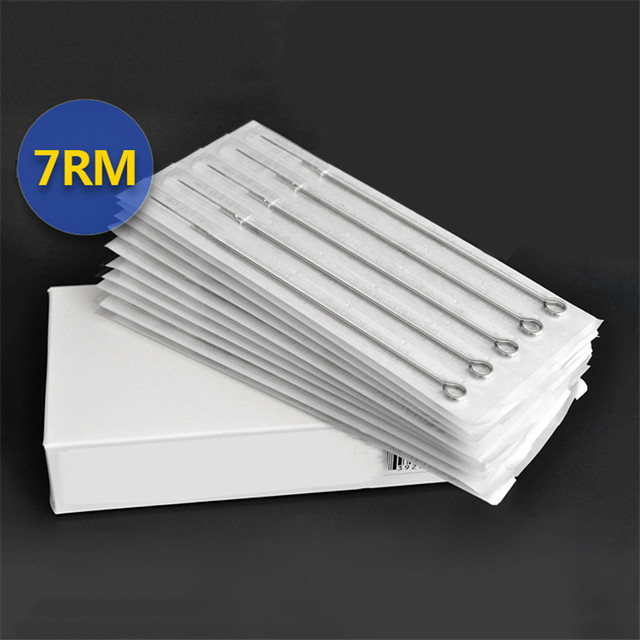 Permanent Makeup 50Pcs/Box 7RM Disposable Sterile Tattoo Needles For Tattoo Gun Machine Grip Tube Kit Sets Tattoo Supplies