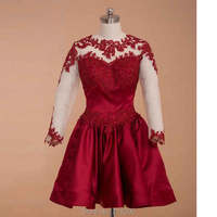 Backless Long Sleeves Burgundy Lace Short Prom Dresses Kardashian Dress For Prom Cheap