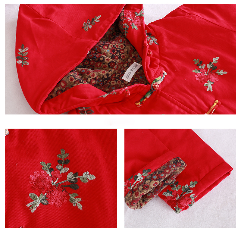 Femmes À Long Coton red Veste Hiver Trench Deep Rouge Pardessus Ouatée Fleur Capuchon Manteau Parka Blue vent Coupe Matelassé Automne Mince wIqgSZvg
