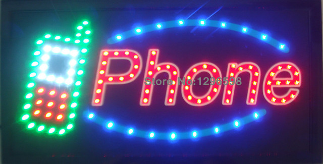 CHENXI New design phone shop open neon sign10X19 Inch Graphics Animated motion Running of led