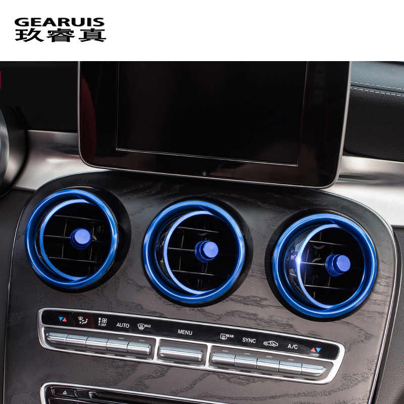45a731c8284 Car-styling AC Outlet Ring Decoration Air Conditioning Vents Trim Stickers Cover  for Mercedes Benz