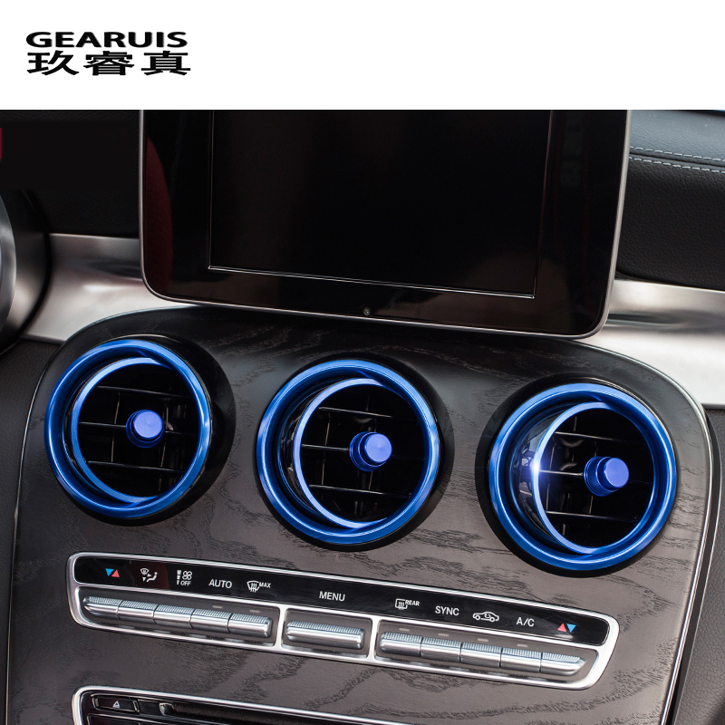 Car-styling AC Outlet Ring Decoration Air Conditioning Vents Trim Stickers Cover for <font><b>Mercedes</b></font> Benz C Class W205 GLC <font><b>180</b></font> 200 260 image