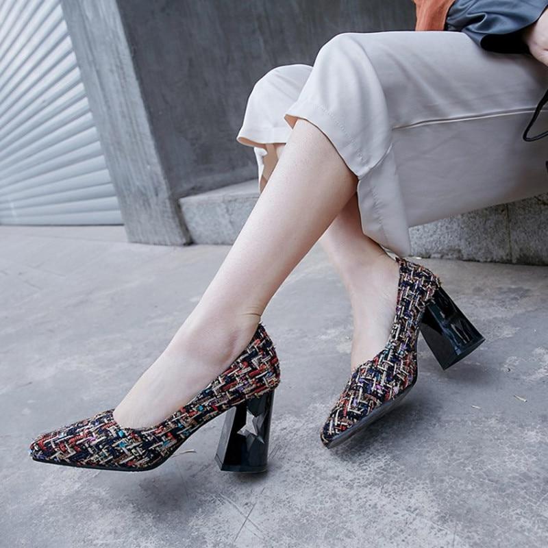 Plus Size 34-48 Women Slip On Pumps Sexy Retro High Thick Heels Shoes Dress Ladies Elegant strange heels all-match office pumps