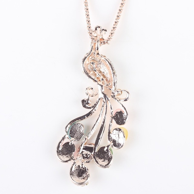 Bonsny Peacock Necklace Long Pendant  Brand Crystal Chain