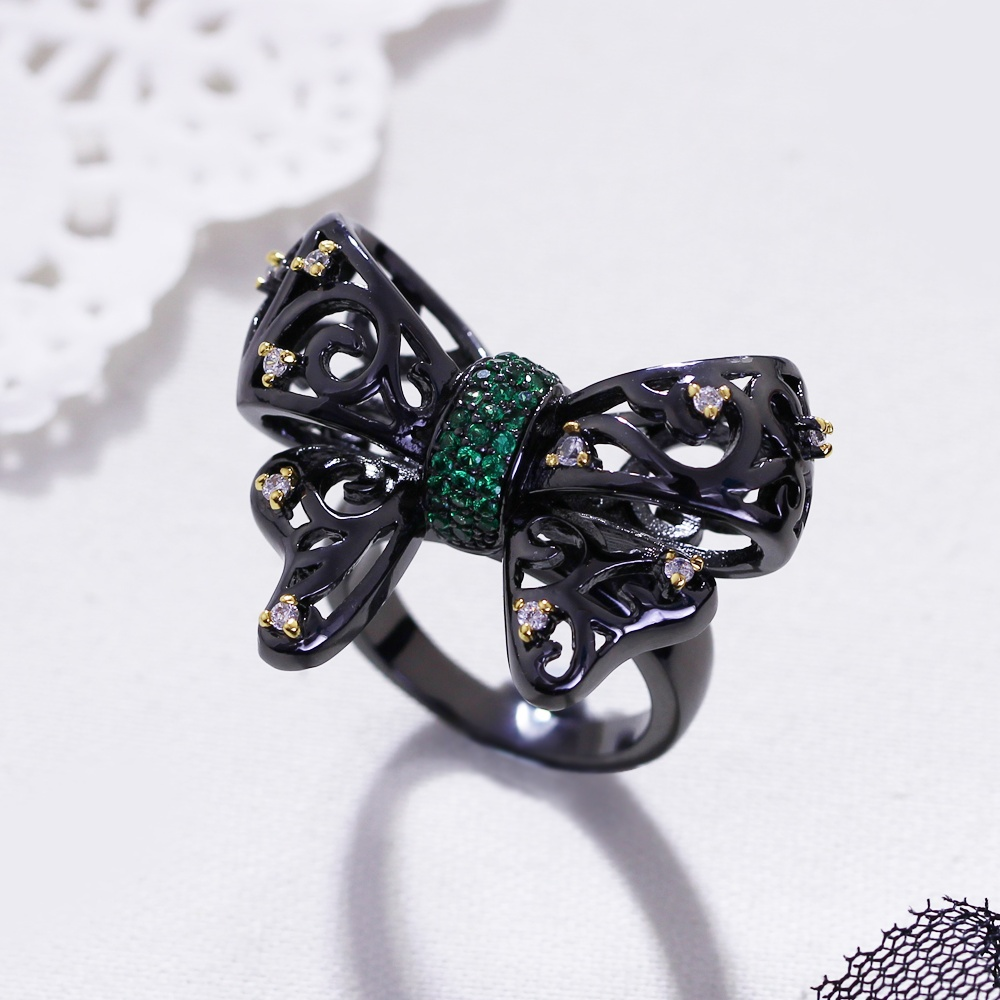 New Butterfly shape Ring Setting with Cubic Zirconia Lead Free Punk rings for women Dropshipping