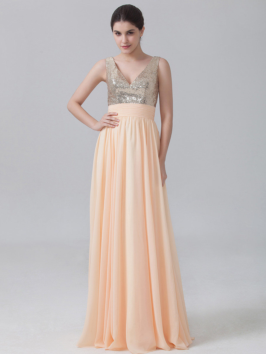 Peachchampagne v back long a line chiffon bridesmaid dresses with peachchampagne v back long a line chiffon bridesmaid dresses with sequin top elegant lovely formal dress for bridesmaid rwb13 in bridesmaid dresses from ombrellifo Gallery