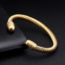 Luxury Braided Charm Open Cuff Bracelets Men Women Sporty Jewelry Unique Smooth Stainless Steel Vintage Bangles