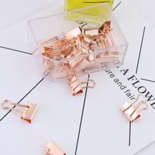 TUTU 15 25pcs Solid Color Rose Gold Metal Binder Clips Notes Letter Paper Clip Office Supplies