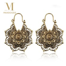 1 Pair Vintage Mandala Flower Drop Dangle Earring for Women Girl Tribal Hollow Floral Pendant Earrings pendientes mujer(China)