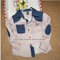 Al por mayor Marca Za Niños Plaid Blusas Niños Partchwork Blusas Camisetas Para Boy Camisas de Mezclilla Niños ropa Trajes de Lot