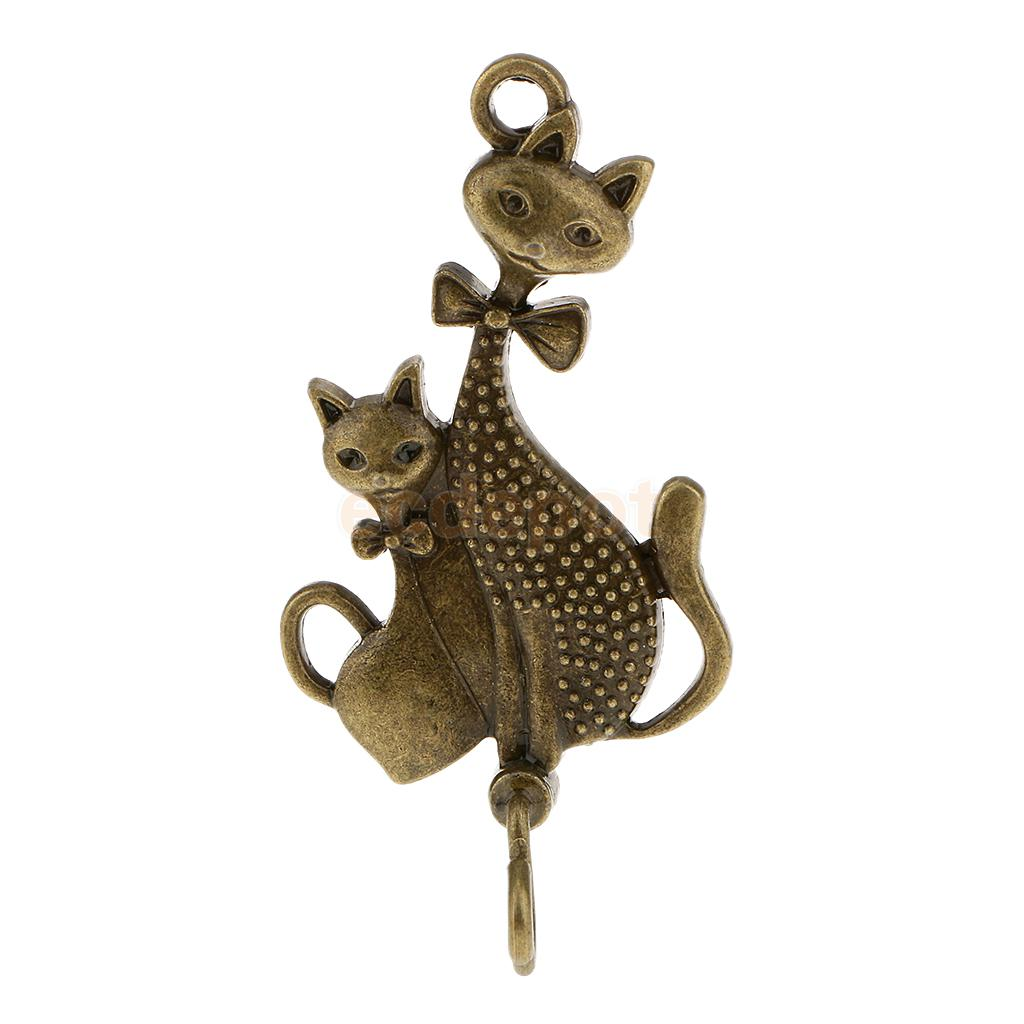 Metal Cat Pattern Wind Chime Hanger Bell Charm Coat Hat Hook Garden Ornament