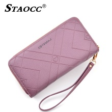 Double Zipper Women Wallet Large Capacity Long Leather Clutch Purse Coin Purse Card Holder Cell Phone Purse Female Big Wallets 2018 new women wallet long genuine leather ladies purse phone holder female clutch big capacity for women coin card purse