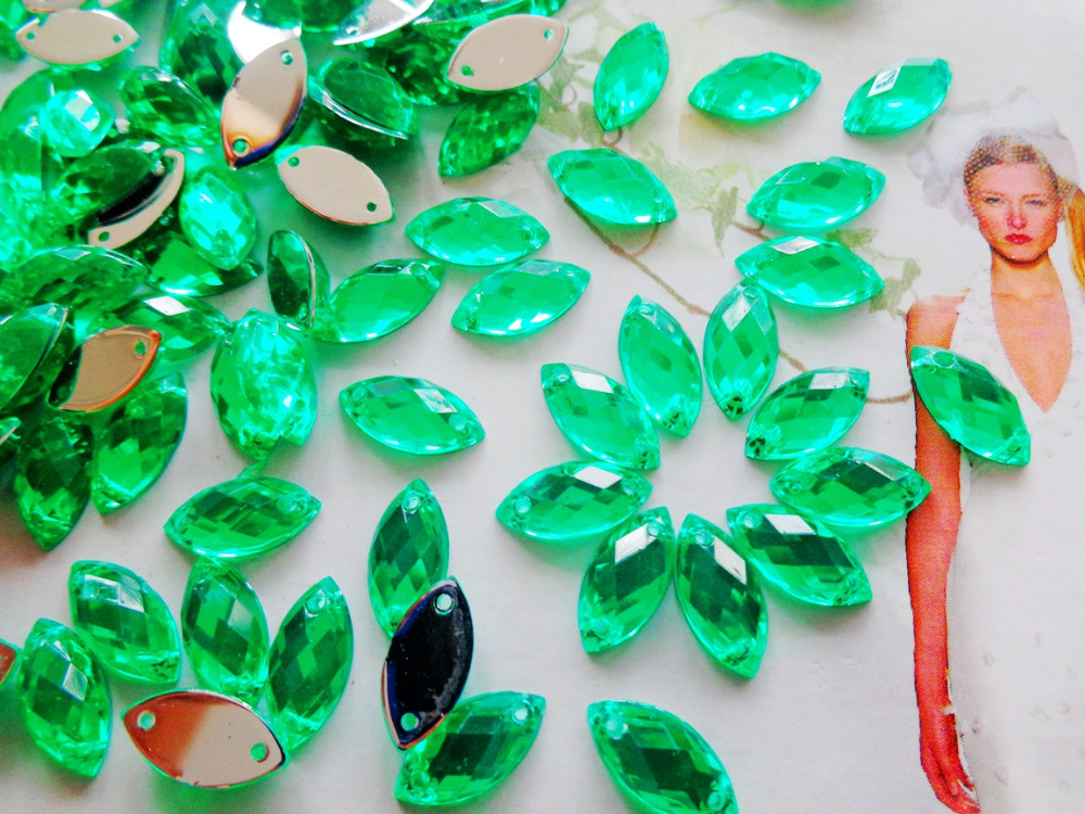 Green rhinestones 300pcs 6*12mm Sew on stone r gem acryl crystal strass diamond hand sewing