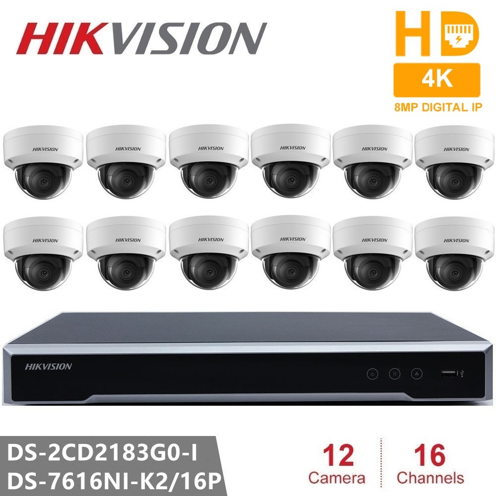Hikvision Security Camera Kits Embedded Plug & Play NVR + DS-2CD2183G0-I 8MP IP Camera Dome POE  H.265 For Home Office SafetyHikvision Security Camera Kits Embedded Plug & Play NVR + DS-2CD2183G0-I 8MP IP Camera Dome POE  H.265 For Home Office Safety
