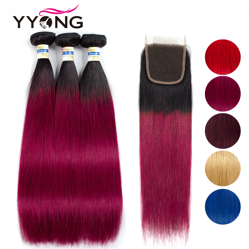 1B/Blue Red 27 99J Burgundy Ombre Bundles With Closure Brazilian Straight 3/ 4 Human Hair Bundles With Closure Colored Non Remy