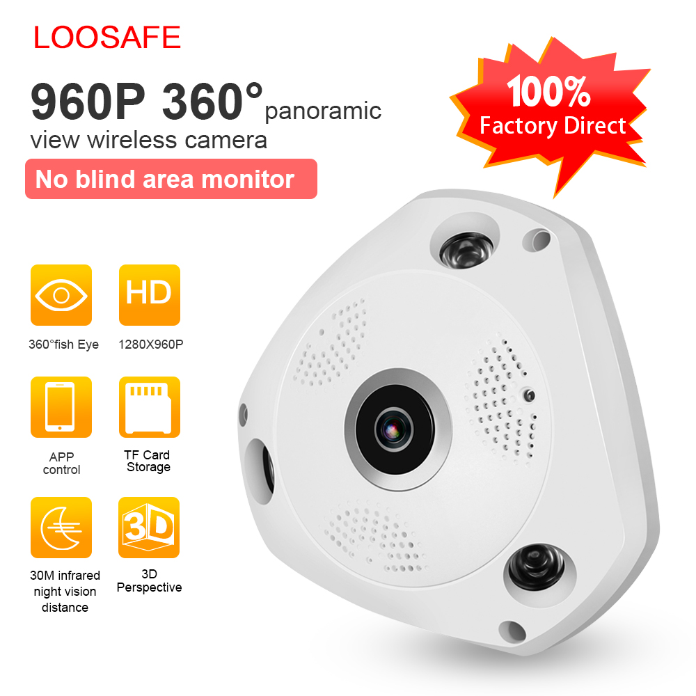 loosafe 360 degree vr panorama camera cctv hd 960p wireless wifi ip camera home security video. Black Bedroom Furniture Sets. Home Design Ideas