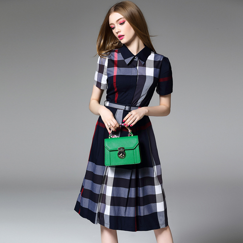 Multiflora Autumn New British Classic Grid Print Lapel A-Line Dress With Belt OL ready to work casual