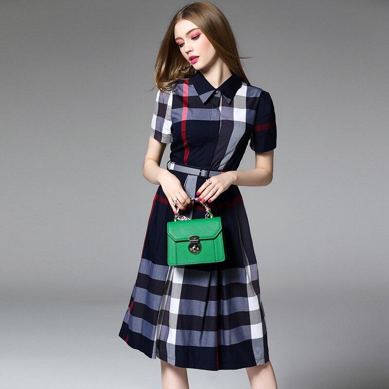 Multiflora otoño nueva rejilla clásica británica solapa de impresión A-Line vestido con cinturón OL listo para trabajar casual
