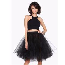 Black Tulle Skirt A Line Knee Length Puffy Skirt Pleated Tutu With Lining New Style Women Skirt