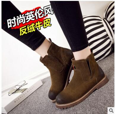 ФОТО Hot Sale Real Suede Leather Women Boots Chelsea Boots for Casual Walking Leisure Fur Warm Winter Shoes Ankle Martins Fall Flats