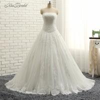 2018 New Arrival Wedding Dresses Robe de Mariee A Line Strapless Lace Appliques Tulle Bridal Gown Vestido de Noiva