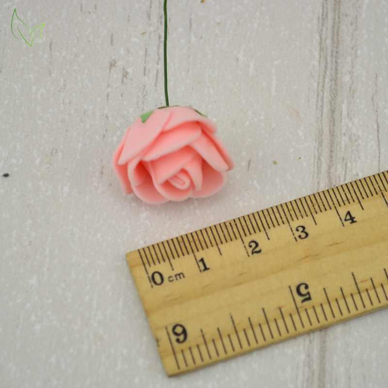 12 pièces PE mousse Rose fleurs artificielles pas cher pour la maison de mariage décoration bricolage couronne cadeau boîte scrapbooking couture fausse fleur