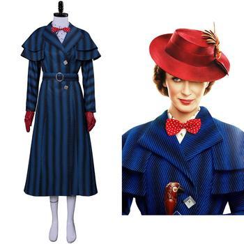 Детский костюм Mary Cosplay Poppins Return, шапка, шарф, полный комплект для девочек, детские рождественские карнавальные вечерние костюмы