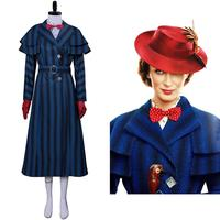 Children Mary Poppins Returns Cosplay Mary Poppins Costume Hat Scarf Full Set for Gilrs Kids Christmas Carnival Party Costume
