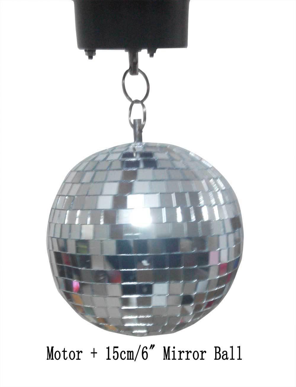 Nº15 cm vidrio transparente giratoria Bola de Espejos 6 Iluminación ...