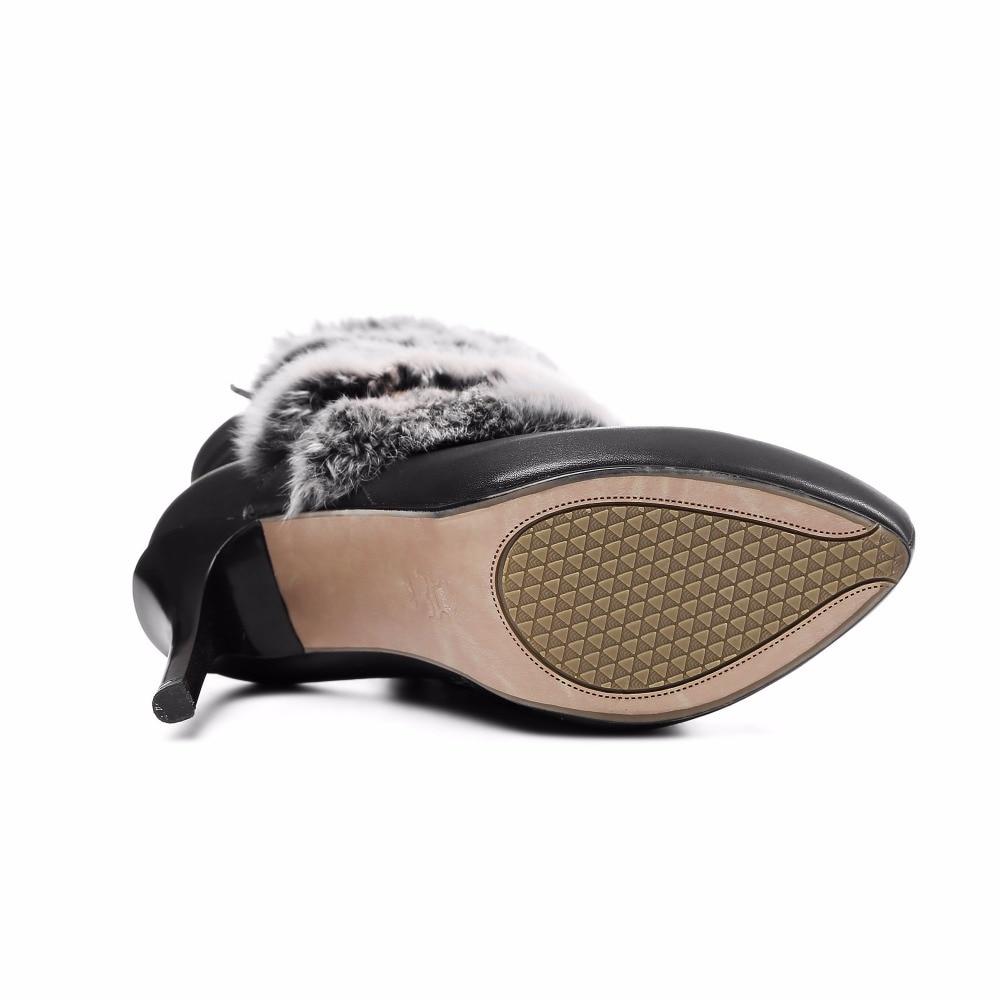 Fourrure forme Chaussures Véritable Avec Cheville Bottes Stilettos Plate Sexy Arden white Mode Femme Neige Hauts 2017 Furtado De Hiver Cuir Talons Black tnUTZ