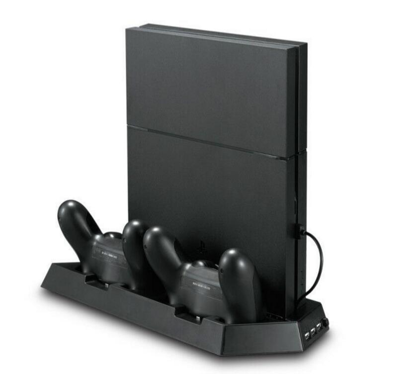 4 in 1 PS4 Slim Vertical Stand with Dual Cooling Fan,Dual Controller Charging Station and 3 Extra USB Port For PS4 Slim Console