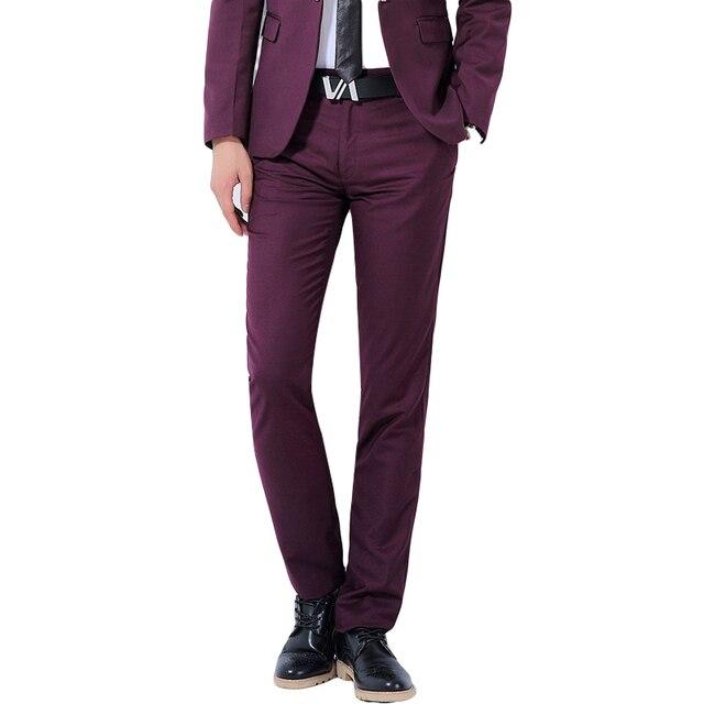 947bc850cb7d Hommes de Costume Pantalon couleur Unie Grande Taille Haute Qualité Hommes  pantalon D affaires Mince