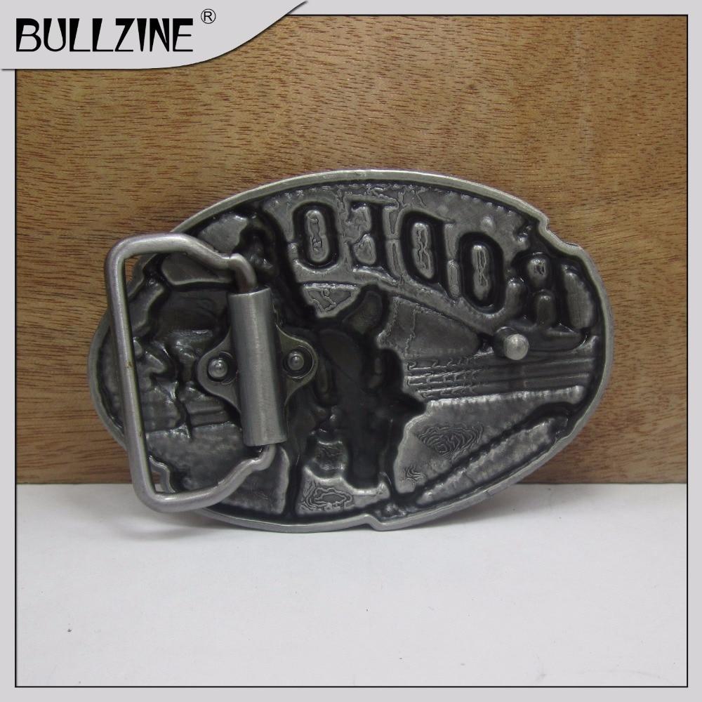 Bullzine Пряжка для ремней Rodeo с Оловянная отделка FP-03257 с постоянный запас подходит для пояса шириной 4 см