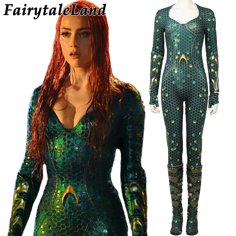 Movie Aquaman Mera Cosplay Costume Carnival Halloween Costume for adult Cosplay Aquaman s Wife Mera Costume