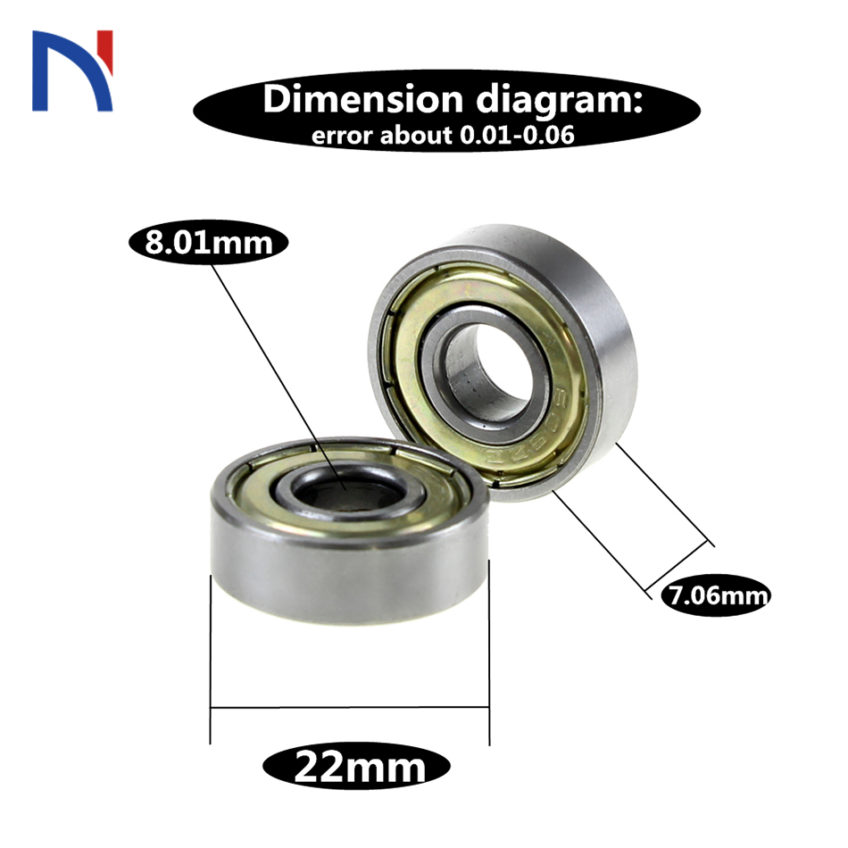Shielded 8 x 22 x 7mm 608ZZ Deep Groove Ball Bearing 3 Pieces