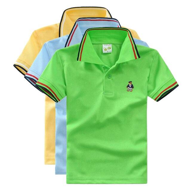 5df5002490 Alta Qualidade camisa polo meninos de manga curta crianças t camisas de uniforme  escolar camisa roupas