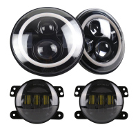 TNOOG for Hummer H1 H2 Headlights 4 LED Fog Light + 2X H4 7INCH Round Headlamp LED Headlights for Jeep Wrangler JK