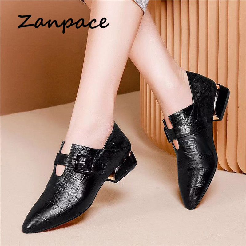 Zanpace British Style Leather Boots Spring Pointed Toe Shoes Woman Thickened High Heels Boots Buckle Strap Dual-purpose Boots