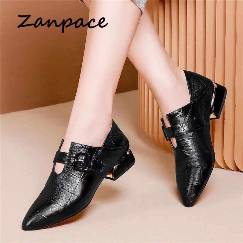 Zanpace İngiliz tarzı deri botları ilkbahar sivri burun ayakkabı kadın kalınlaşmış yüksek topuklu çizmeler toka kayış çift amaçlı botları