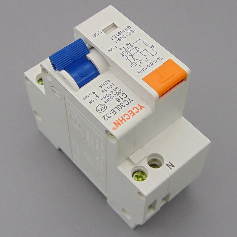 YC30LE-32 16A 230V~ 1P+N Residual current Circuit breaker with over current and Leakage protection RCBO dz47le 3p n 100a d type 400v 50hz 60hz residual current circuit breaker with over current and leakage protection rcbo