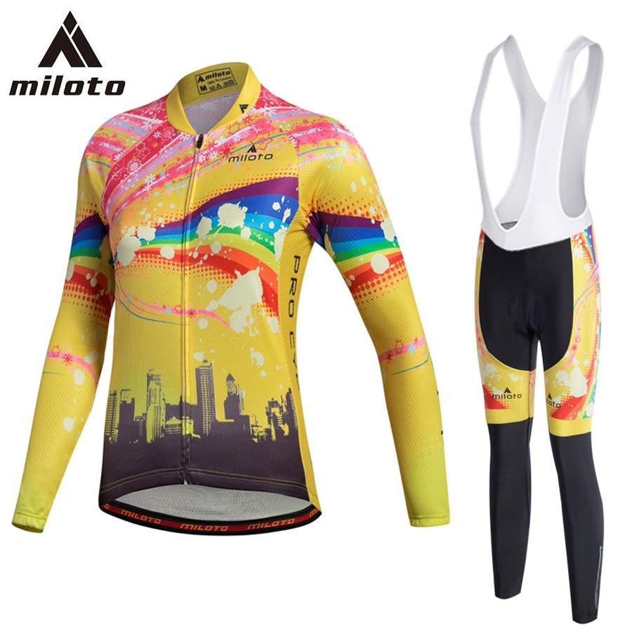 MILOTO Bike Jersey Set Winter Thermal Fleece Women Bicicleta Ropa Ciclismo Bicycle MTB Road Girl S