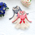 Long Sleeved Girl Striped Dress Sequin Stitching Collar Flower Belt Baby Girl Dress whosale available