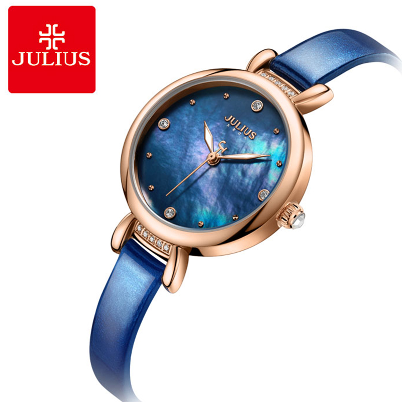 Julius Top Brand Quartz Ladies Watches Blue Thin Leather Strap Women Watch Rose Gold Bbracelet Wrist watch Clock Reloj Mujer