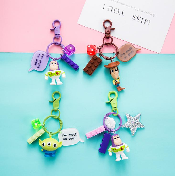 New Toy Story 4 Keychain Forky Bunny <font><b>Alien</b></font> Buzz Lightyear Cartoon Toys Figures Keychain for Kids Pendant Gifts image