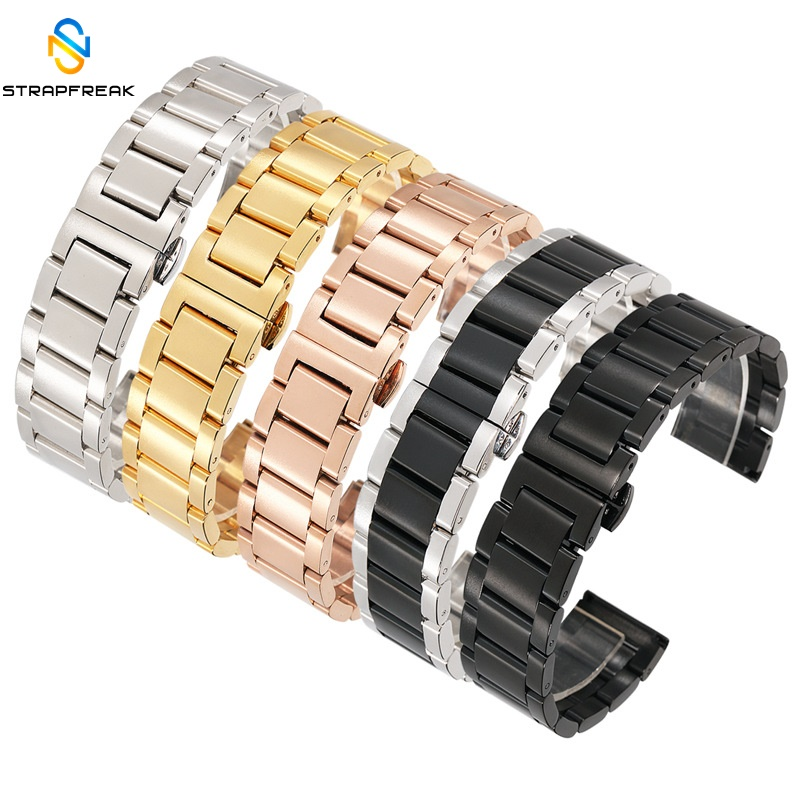 18mm 20mm 22mm 24mm Stainless Steel Watch Band Strap Bracelet Watchband Wristband Butterfly Black Silver Rose Gold