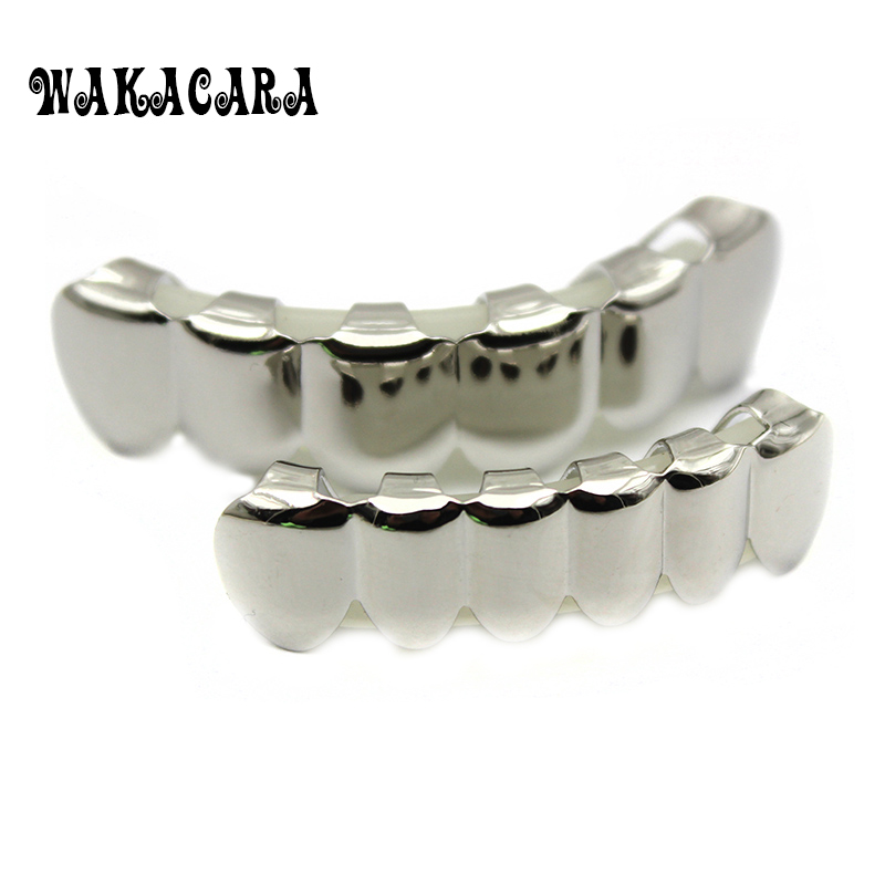 6 Tooth Silver Custom Top Bottom Grillzs Bling Mouth Teeth Caps Hip Hop Grills SET With silicone fashion Teeth Party Gifts Трубопроводный кран