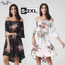 Womens Boho dress  summer flare Sleeve  Irregular Hem Dress knee length Floral print clothing  ouc619 floral print hanky hem shift dress