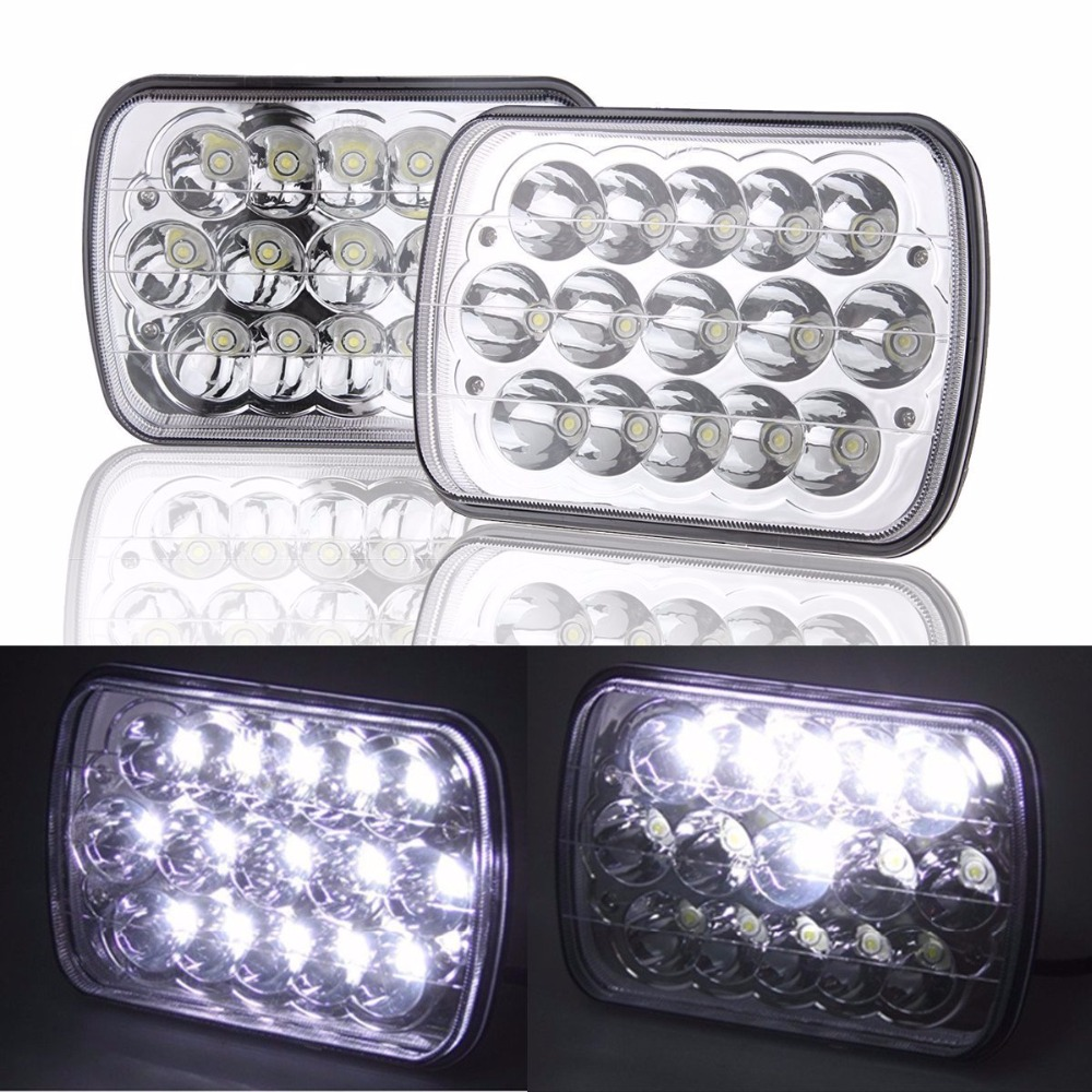 Pair Lantsun LED6454  5 x 7 6x7inch Rectangular LED Headlights for Jeep Wrangler YJ Cherokee XJ Replacement H6054 H5054 H6054 5 x 7 6x7inch rectangular led headlights for jeep wrangler yj cherokee xj trucks 4x4 offroad headlamp replacement h6054 h5054